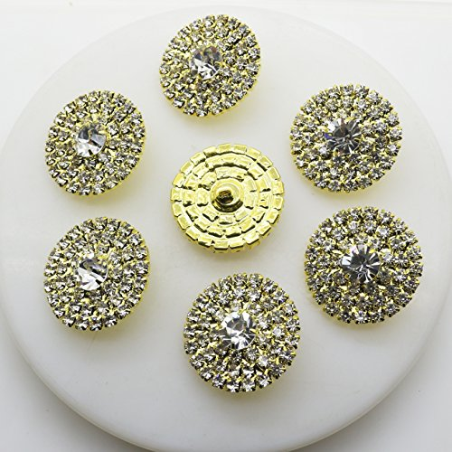 Gold Round Button (AngHui ShiPin 20pcs 25mm Silver Gold Round Rhinestone Buckle Buttons Slider for Sew On Silver Plated Alloy Rhinestone Button Flatback Crystal Button For Baby Hair Accessories)