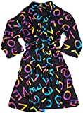 Fancy Girlz - Big Girls Long Sleeve Plush Love Letters Robe, Black, Multi 38494-7/8