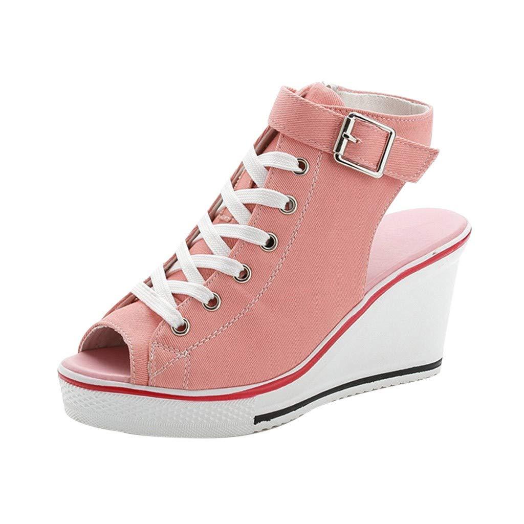 ❤️ Sunbona Women Wedges Sandals Ladies Summer High Shoes Adjustable Buckle Peep Toe Creepers Wedges Shoes Sandals