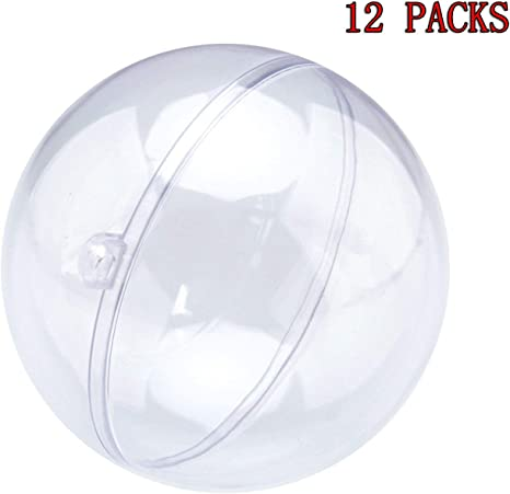 Pkg of 12 60 mm Clear Plastic Acrylic Fallible Ball Ornament