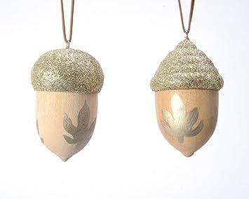 Christbaumkugeln Champagnerfarben.Amazon De Kaemingk Christbaumkugeln Aus Holz Rustikale Eichel 6