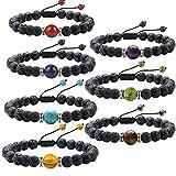 J. Fée 7 Pack 7 Chakras Gemstone Bracelet Men&Women Lava Stretch Bracelet - 7 Pack Bracelets Series (Adjustable 7Set & Meaning Card)