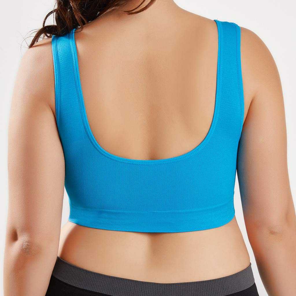 Women Yoga Sport Bra V-Neck Stretch Wire Free Pure Color Bra Yoga Sports Bras Seamless Longline Bra 2PCS
