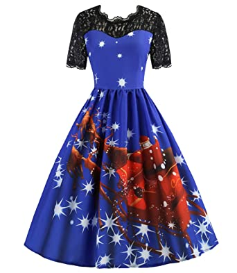 139a197ab0814 Tecrio Women Floral Christmas Skirts Party Evening Swing Dress Short Sleeve  S Blue