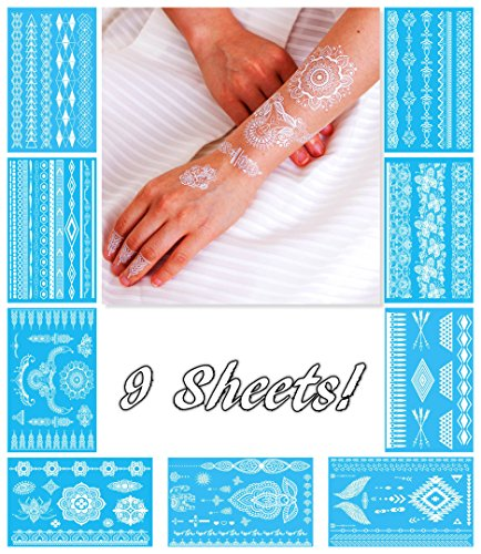 White Temporary Tattoos for Women Teens Girls - 9 Sheets Henna White Lace Fake Tattoos - Tattoo Designs Jewelry Tattoos - 100+ White Flash Fake Waterproof Tattoo (Hippie Tattoo Designs)