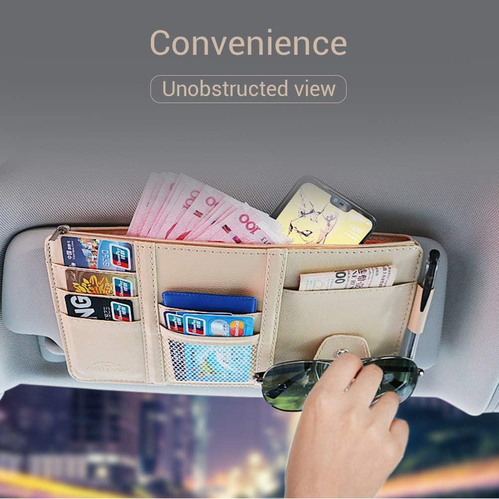 Kreditkarten Auto Aufbewahrungstasche Halter f/ür Tickets Parkomm PU Leder Multifunktionsraum Sonnenblende Tasche F/ührerschein