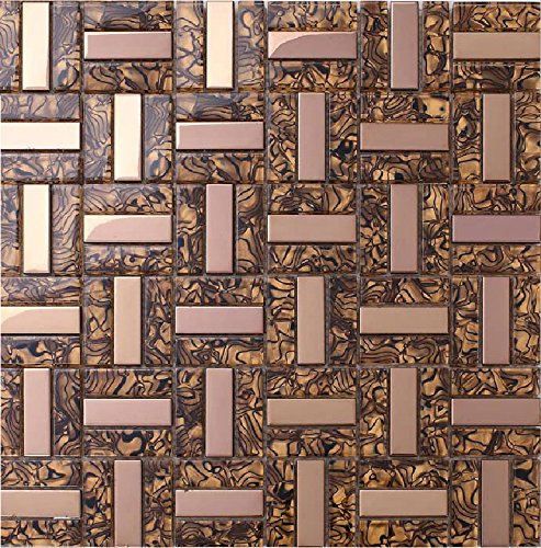 Luxury Rose Gold Glass Mosaic Plated Crystal Glass Tile Leopard Pattern for Kitchen Backsplash and Bathroom Decor 11 PCS