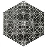 SomerTile Feqcsxmb Koralstone Hexagon Porcelain Floor and Wall Tile, 10'' x 11.5'', Melange Black
