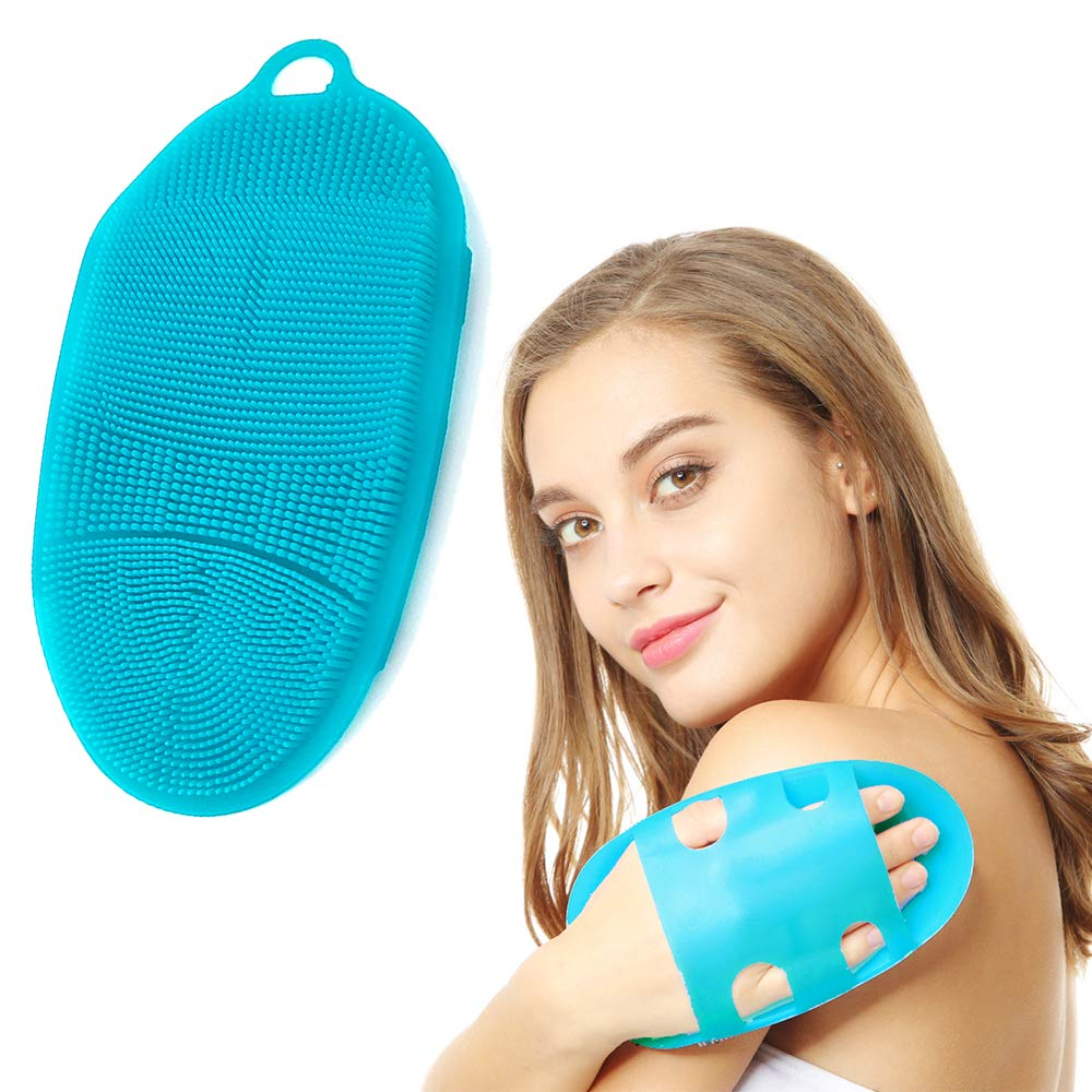 Amazon Com Innerneed Soft Silicone Body Scrubber Exfoliating Glove Shower Cleansing Brush Spa Massage Skin Care Tool For Sensitive And All Kinds Of Skin Blue Beauty