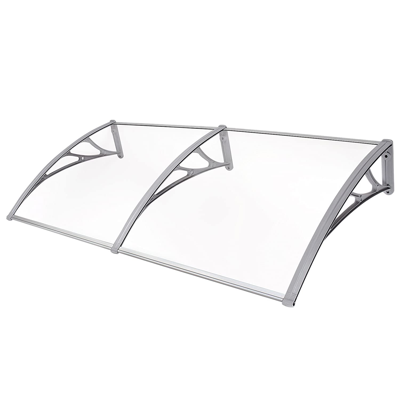 Songmics GVH191- Marquesina para puertas ventanas, Toldo cubierta de policarbonato de 3 mm, transparente, 195x 96 cm