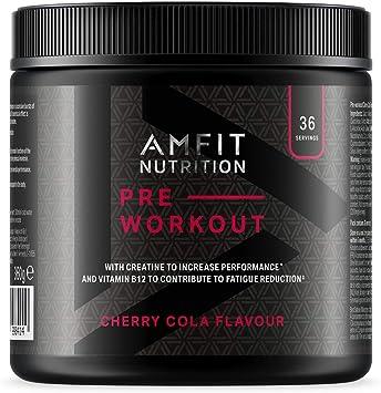 Marca Amazon Amfit Nutrition - PRE-ENTRENO Sabor a cereza y cola 360 g, 36 porciones