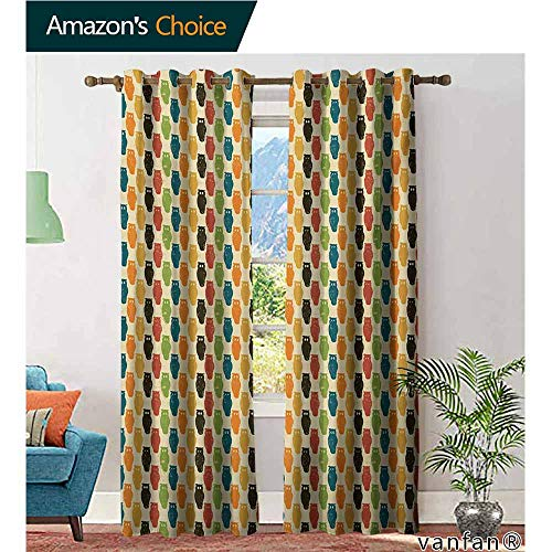 Big datastore Pattern DIY Available Curtain,OwlsRetro Styled Colorful Animal Silhouettes with Grunge Display Halloween Inspirations,with Solid Grommet Top,Multicolor,W96 xL84]()