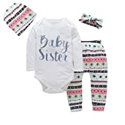 Memela Buy The Outfit 4pcs/Set Newborn Baby Girls Striped Tops Pants Hat Headband Outfits Set 0-18 Mos (0-3 Mos)
