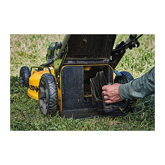 Dewalt 20v max lawn mower, 3-in-1, 2 batteries (dcmw220p2) 13 push mower comes with powerful brushless motor and (2) 20v max* batteries working simultaneously for high power output. 3-in-1 push lawn mower for mulching, bagging and side discharging battery lawn mower has heavy-duty 20-inch metal deck