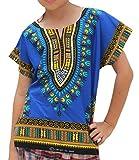 RaanPahMuang Unisex Bright Africa Colour Children Dashiki Cotton Shirt, 3-6 Years, Egyptian Blue