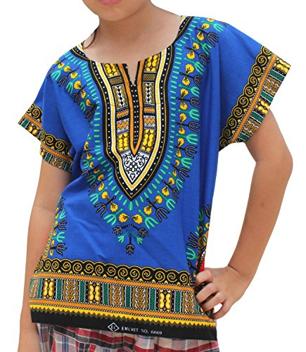RaanPahMuang Unisex Bright Africa Colour Children Dashiki Cotton Shirt, 6-8 Years, Egyptian Blue