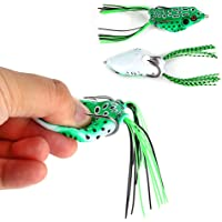 SaiDeng 5 PCs Top Water Soft Bait Hollow Frog Fishing Lures Spoon Lures Crankbaits for Bass Snakehead in Saltwater, Freshwater