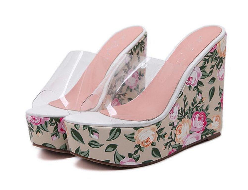 GLTER Mujeres Bombas Verano Nuevo Cristal Transparente Pegamento Flor De Estilo Bohemio Zapatillas Pendiente Zapatos De Tacón Alto Sandalias Al Aire Libre , pink , 39 39|pink