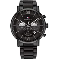 Tommy Hilfiger men's Black Dial Ionic Plated Black Steel Watch - 1710410