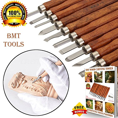 Wood Carving Tools- Durable High Carbon Steel SK2 ( Upgrade The firmness from SK5)- 12 Sculpting Knives for Carving Wood, Pumpkin, Soap, Rubber for Beginners Kids Adults with Safety Cap + Ebook