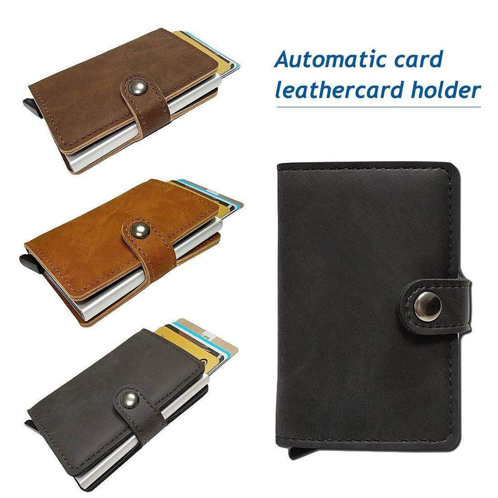 Infgreate Stylish And Practical Purse Fashion Solid Color Faux Leather Anti-Steal Credit Business Card Bag Holder