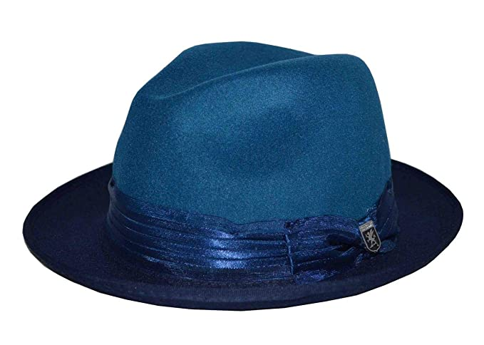 2920feba894 STACY ADAMS Two-Tone Pinch Front UltraFelt Fedora Blue at Amazon ...