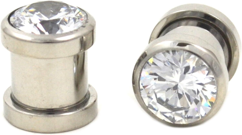 Star CZ Gem Ear Plugs Screw Fit Sold in pairs 4 Gauge to 00 Gauge