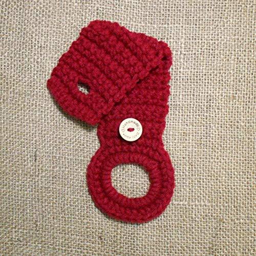 Burgundy Crochet Hanging Dish Towel Holder, Kitchen Decor