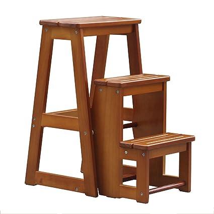Superb Wqeymx Double Sided Step Stool 3 Steps Wooden Practical Beatyapartments Chair Design Images Beatyapartmentscom