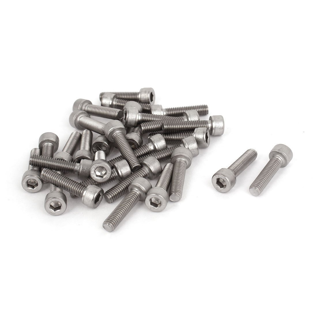 uxcell 0.8mm Pitch M5x20mm Stainless Steel Hex Socket Head Cap Screws 30pcs