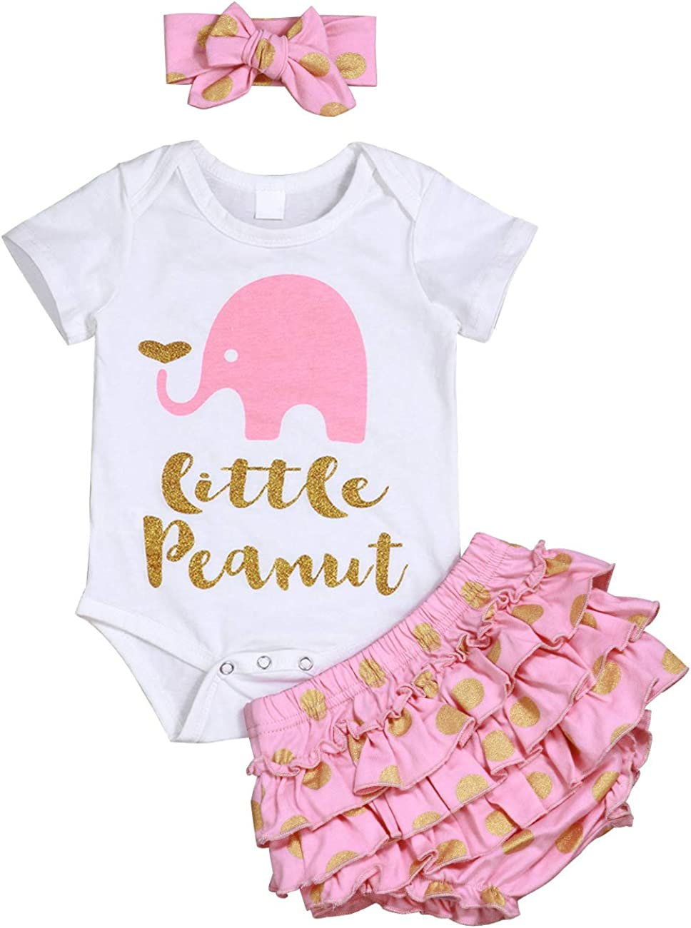 Newborn Baby Girl Summer Clothes Elephant Letters Print Romper + Polka Dots Shorts with Headband 3Pcs Outfit Set Pink