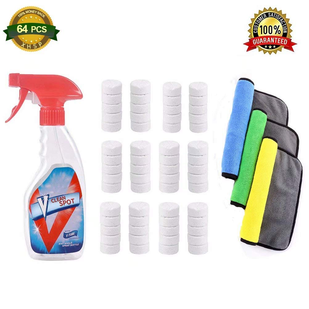 多機能 エファーベセント スプレー クリーナー セット スプレーボトル - 多目的 ホーム クリーニング エコ スプレー クリーナー 60pcs with a bottle and 3pcs cleaning cloth XH18081302_64pcs B07GFBYB13  60pcs with a bottle and 3pcs cleaning cloth