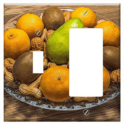 1-Toggle 1-Rocker/GFCI Combination Wall Plate Cover - Fruit Bowl Nuts Fruit Fruits Healthy Nutritio ()