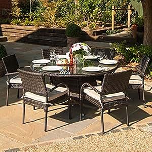 Belle mimbre al aire libre muebles de jardín Seaford 6asiento 1,35m Set de comedor de ratán mesa redonda, marrón