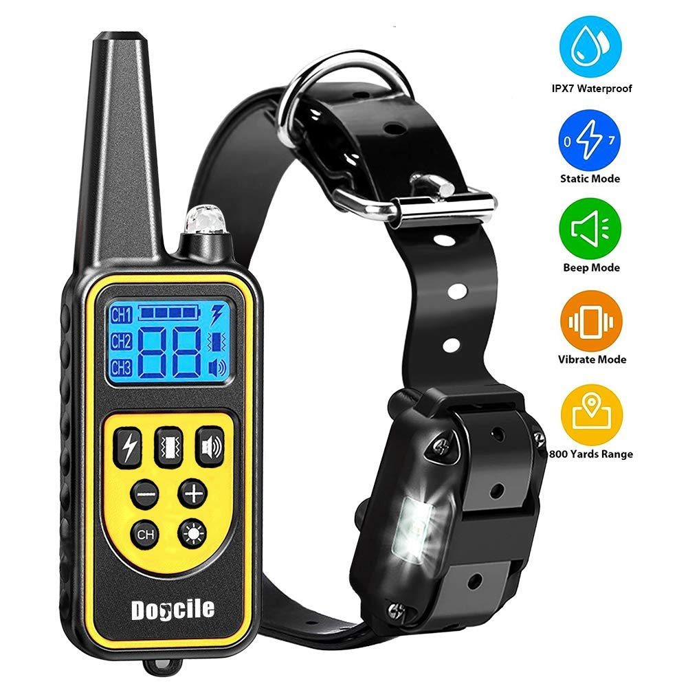 YISENCE Dog Training Collar, Dog Shock Collar with Remote 2500FT Shock Collar for Dogs IPX7 Waterproof Rechargeable w/Beep 99 Levels Vibrate Shock Modes Shock Collar for Small Dogs Medium Large Dogs by YISENCE