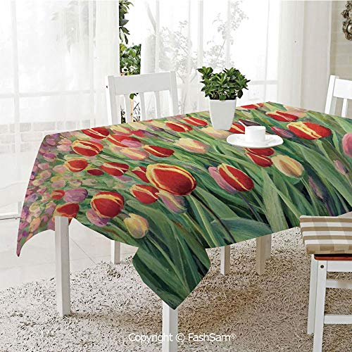 AmaUncle Party Decorations Tablecloth Abstract Illustration of Flowers Daisies and Greens Painting Style Kitchen Rectangular Table Cover (W60 xL104)]()