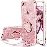 iPhone7 ケース, iPhone8 ケース,かわいい リング付き おしゃれ ストラップ キラキラ ラインストーン ダイアモンド縁 スタンド機能 人気女性女子用 アイフォン7/アイフォン8ケース 耐衝撃 アイホン 7/8 ケース (ローズゴールド/ピンク)