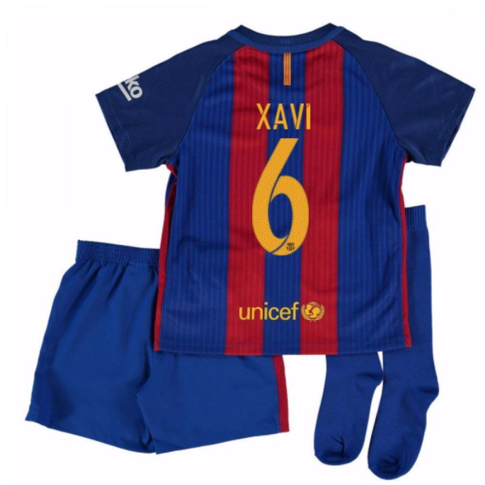 2016-17 Barcelona Home Little Boys Mini Kit (With Sponsor) (Xavi 6) B01N0ABHBJ