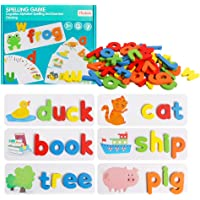 HOONEW See and Spelling Learning Toy, Matching Letter Games Sight Word Flash Cards Montessori Wooden Educational Toys…