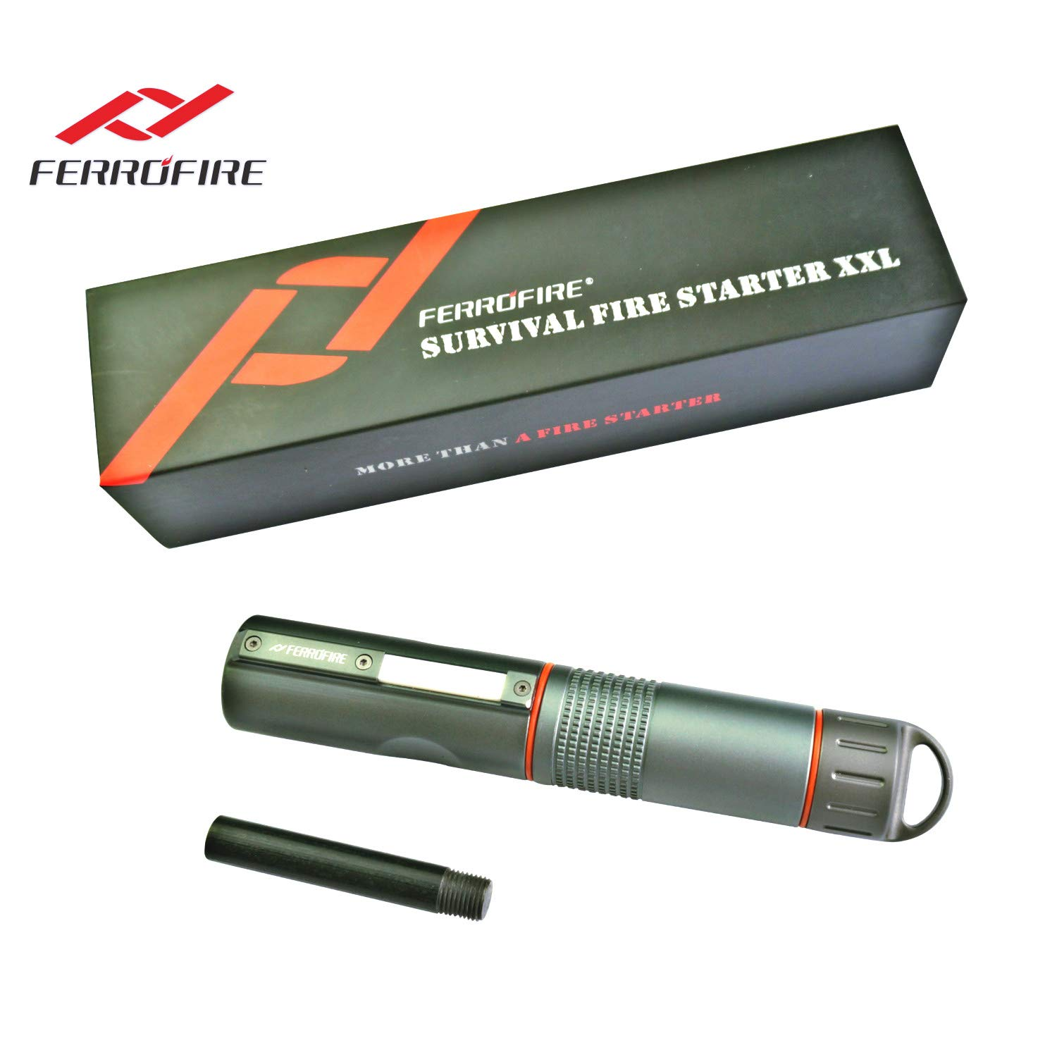 FERROFIRE Fire Starter XXL (S10E1), 2/5 inch Diameter Replaceable Ferro Rod + 1 Standby Rod, Truly for All Weathers and A Lifetime of Use with Waterproof Capsule, Built-in Striker, Compass by FERROFIRE