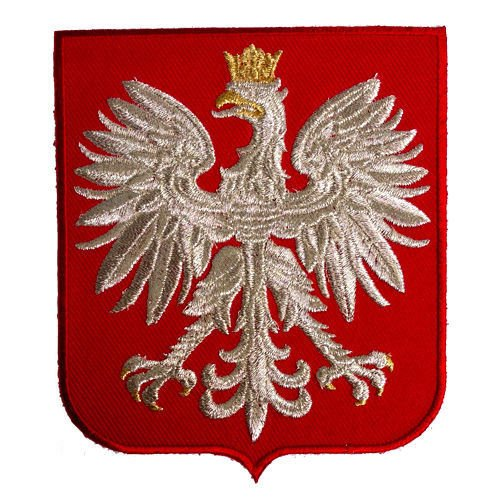 - Poland Eagle Polish Red Shield Polska Coat Arms Silver Thread Embroidered Patch