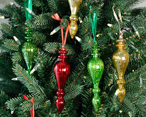 Glass Christmas Tree Decorations Vintage Colourful Long Teardrop Xmas Ornament