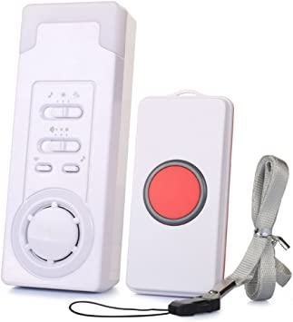 Caregiver Pager Smart Personal SOS Call Button System Wireless Remote Alert Help System for Elderly//Patient//Disabled with 1 Emergency Transmitter and 1 Receiver Battery Included