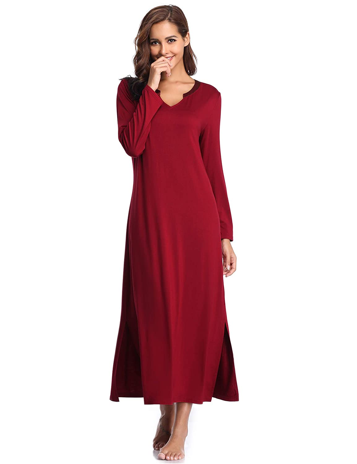 3ac540f703 Lusofie Long Nightgowns for Women V Neck Long Sleeve Sleepwear Full-Length  Nightdress (Wine Red