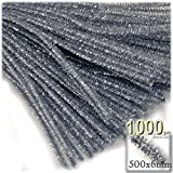 The Crafts Outlet Chenille Sparkly Stems, Pipe Cleaner, 20-in (50-cm), 1000-pc, Silver