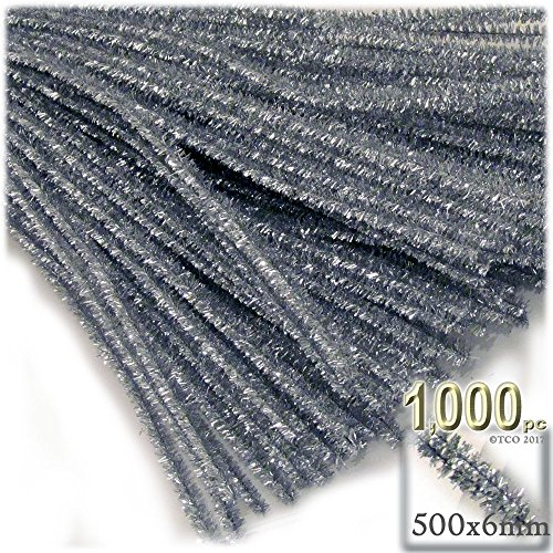 The Crafts Outlet Chenille Sparkly Stems, Pipe Cleaner, 20-in (50-cm), 1000-pc, Silver by The Crafts Outlet