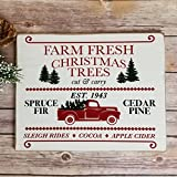 "Streamside Shoppe Farmhouse Christmas Sign, 9.25"" x 11.75"" Farm Fresh Christmas Trees Rustic Wooden Sign, Christmas Trees for Sale, Farmhouse Christmas Decor, Holiday Decor"