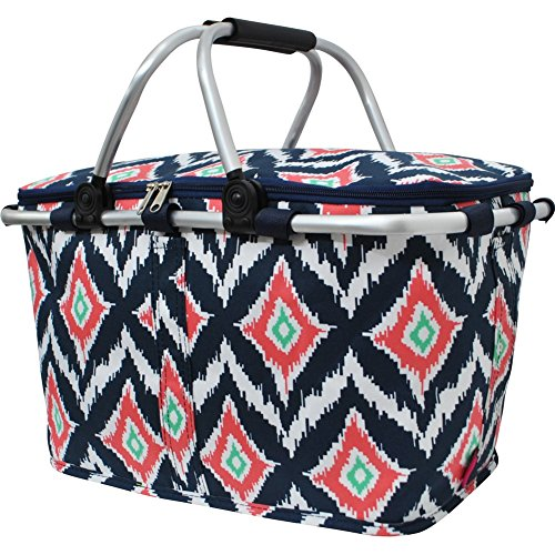 Geometric Ikat Pattern Print Insulated Picnic Basket Bag by N.Gil