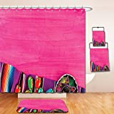 Nalahome Bath Suit: Showercurtain Bathrug Bathtowel Handtowel Mexican Decorations View of Folkloric Serape Blanket Charro Hat and Music Instruments Fuchsia Purple