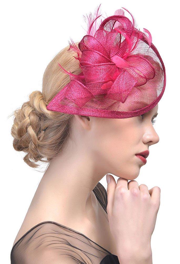 EachEver Women's Feather Sinamay Fascinator Hat Party Headwear Pillbox Top Hat Rose